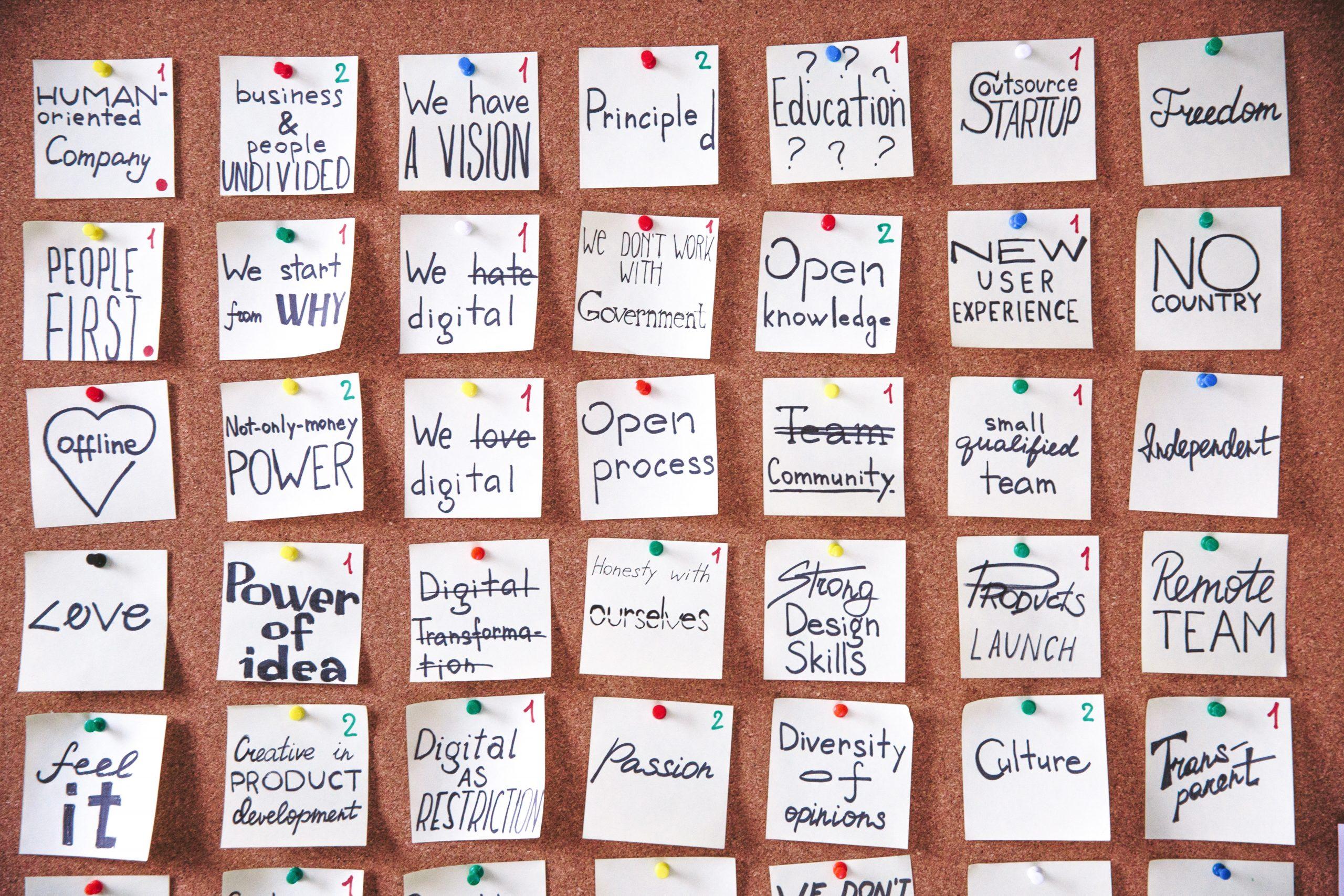 Postit Notes on Cork board. Postit have ideas on them.