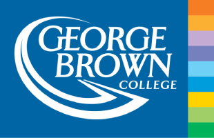 George BrownCollege Logo. Words Groege Brown College on a dark blue background with small squares of different colour along the right side.