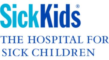 SickKids Logo. SickKids in light and dark blue. The words The Hosptial for Sick Children underneath.